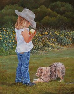 """Double Trouble by June Dudley Little Girl Dog Signed Open Edition Print - June Dudley enjoys painting a variety of subjects, but she is very fond of painting children.  In this trademark image, the artist has captured all the fun a little girl and her dog can have together.  These two could play all day in their beautiful surroundings.  As the little girl enjoys her apple, her energetic puppy offers a branch to entice her to play.  """"Double Trouble"""" has never been cuter than this adorable…"""