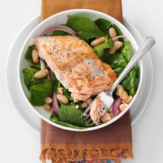 Roasted Salmon & White Bean Spinach Salad Recipe -No time for a healthy meal? Nonsense! This is a quick and nutritious dinner that's done in just 25 minutes. —Frances Pietsch, Flower Mound, Texas