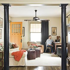 Ok like the pillars to break up the two rooms. Also dig the front door color. Craftsman Style Home Decorating Ideas
