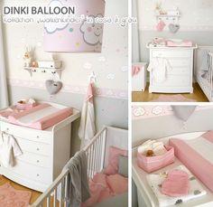 Dinki Balloon Babyzimmer 'Wolkenkinder' rosa/grau
