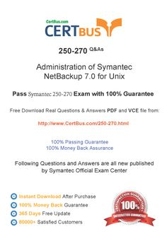 Candidate need to purchase the latest Symantec 250-270 Dumps with latest Symantec 250-270 Exam Questions. Here is a suggestion for you: Here you can find the latest Symantec 250-270 New Questions in their Symantec 250-270 PDF, Symantec 250-270 VCE and Symantec 250-270 braindumps. Their Symantec 250-270 exam dumps are with the latest Symantec 250-270 exam question. With Symantec 250-270 pdf dumps, you will be successful. Highly recommend this Symantec 250-270 Practice Test.