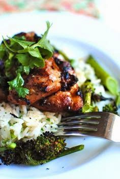 Grilled Hawaiian Chicken with Coconut-Cilantro Rice
