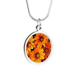 Orange Garden Flowers Necklaces,Silver Necklace with Round Silver Pendant