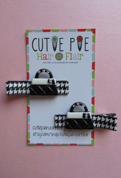 Black & White Quilted Handbag Clppies by CutiePieHairFlair on Etsy, $6.50