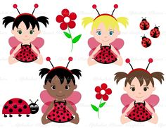 Ladybug, Lady bug baby girl african american caucasion digital clip art set, clipart personal and commercial use digital download. $4.00, via Etsy.
