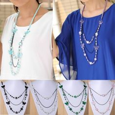 6 Colors Bohemia Fashion Women Butterfly Ball Beads Pendant Chain Long Necklace #Jewelry #Deal #Fashion