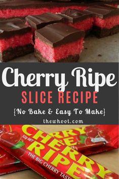 Cherry Ripe Slice Recipe No Bake Video Cherry Ripe Recipes, Cherry Ripe Slice, Cherry Desserts, Pear Recipes, Candy Recipes, Fun Desserts, Baking Recipes, Snack Recipes, Cherry Cake