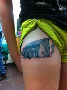 My Great Great Great Grandpa's barn in rural Kansas. Done by Casey at Playground Tattoo in Illinois.