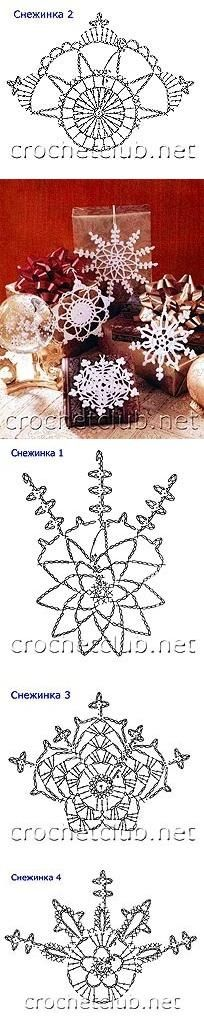 Free crochet snowflake ornament patterns and many others. Use Google Translate.