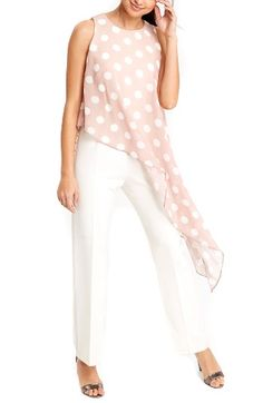 Free shipping and returns on Wallis Polka Dot Overlay Jumpsuit at Nordstrom.com. An asymmetrical overlay of sheer chiffon with eye-popping dots brings fluttery drama—and a cute two-piece look—to an all-in-one white jumpsuit cut with slim straight legs.