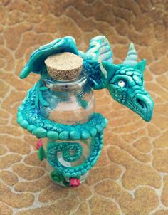 Bottle with Turquoise Dragon