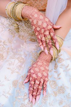 Brisbane engagement mehndi in a floral net design with matching ombré lehenga from Kalki Fashions