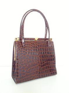 Brown mock croc handbag – Bobs