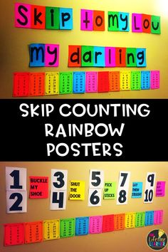 Third graders need a lot of help in skip counting when they first are learning multiplication! These skip counting posters are rainbow themed and are perfect for helping 3rd graders learn the multiplication patterns. The skip counting posters align well with third grade common core math standards 3.OA.1 and 3.OA.7. When 3rd grade students are trying to learn their multiplication facts, understanding the skip counting patterns comes in handy! #3rdgrademath #multiplicationfacts #mathresources