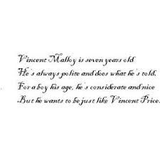 Tim Burton Vincent poem