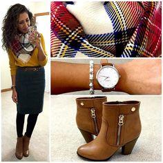 Ode to Autumn. ||Sweater & belt: #hmusa |Skirt: #jcrewoutlet |Scarf: #target |Boots: #kohls |Bracelet: #stelladotstyle |Watch: @wristologywatches #wristology use code GORGEOUS20 for 20% off  || #hellogorgeous #hellogorgeousblog #wiw #ootd #igstyle #workwear by hellogorgeousblog
