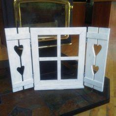 Window Frame Crafts, Frame Wall Decor, Rustic Wall Decor, Farmhouse Decor, Rustic Wood, Plastic Shutters, Wood Shutters, Western Wall Decor, Recycled Door
