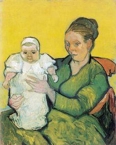 """L'opera di Vincent Van Gogh dal titolo """"Ritratto di Madame Roulin con la figlioletta"""" (1888, Olio su tela, 92,4 x 73,5 cm)"""