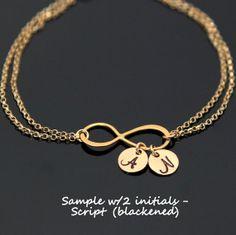 Gold INFINITY Initial Bracelet Personalized by AlexisKJewels, $29.99