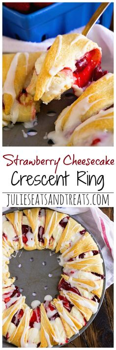 Strawberry Cheesecake Crescent Ring ~ Tender, Flaky Crescent Rolls Stuffed with Strawberry Pie Filling & Cheesecake then Drizzled with Icing! Perfect Quick & Easy Breakfast Recipe! ~ https://www.julieseatsandtreats.com