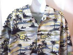 Walt Disney World Mens Hawaiian Shirt X-Large XL Blue Gold 100% Cotton Palm Tree #WaltDisneyWorld #ButtonFront