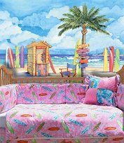 girls hippie surf theme bedroom home decor tropical hawaiian