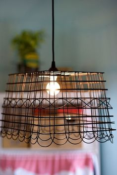 Rejuvenation Salvage Sighting: DIY Basket Lampshade....hmmmm...not sure about this...what do you think?