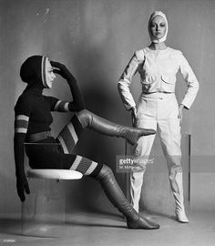 All-in-one, knitted wool, 'fashion' catsuits designed and modelled by Shirley Belljohn (left).