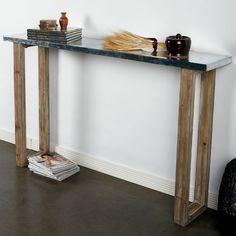 wood + metal slab table