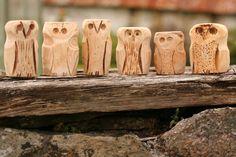 Cornish hand carved owls