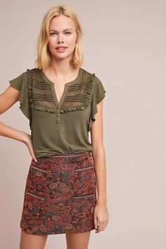 b560704a7 Maeve Gillham Flutter-sleeve Top in Green - Lyst Flutter Sleeve Top, Cute  Tops