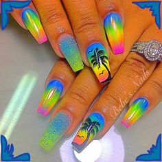 Tropical coffin nails & shiny nails & green yellow blue coffin nails with palm & The post Tropical coffin nails Bright Summer Nails, Summer Acrylic Nails, Best Acrylic Nails, Nail Summer, Bright Nails Neon, Bright Acrylic Nails, Colourful Nails, Bright Nail Art, Purple Nail Art