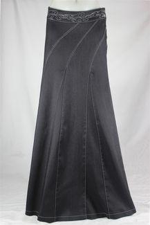 Sweeping Beauty Long Denim Skirt, Sizes 6-18