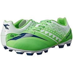 Diadora DD-NA 3 R LPU (Fluo Green/White) Men's Soccer Shoes ($65) ❤ liked on Polyvore featuring men's fashion, men's shoes, mens green shoes, mens white shoes, diadora mens shoes, mens shoes and mens lace up shoes