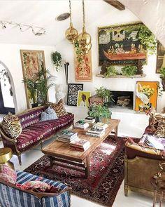60 Gracefulness Bohemian Living Room Design and Decorating Ideas - Boho Living Room Decor Living Room Decor Styles, Home Decor Styles, Living Room Designs, Bedroom Styles, Bedroom Designs, Casa Hipster, Interior Bohemio, Bohemian Chic Decor, Modern Bohemian