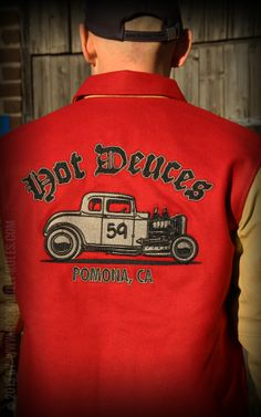 Coole Car Club Jacket von Rumble59 - rost-rot - Hot Deuces - für jeden Hotrod-Fan! - Rockabilly-Rules.com