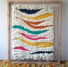 I'm digging her work! I really like the subtler one's of hers, too, but this color is really ice! :: Woven wool wall hanging on the loom // weaving by Jeannie Helzer @jeanniemakes