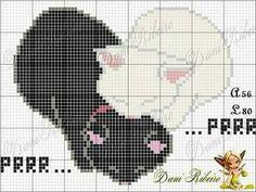 Kawaii Cross Stitch, Cross Stitch Heart, Beaded Cross Stitch, Crochet Cross, Cross Stitch Animals, Cat Cross Stitches, Cross Stitch Needles, Cross Stitching, Cross Stitch Designs