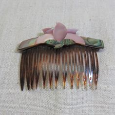 1980s Abalone and Mother of Pearl Hair Comb, Pink Lotus Flower Hair Comb