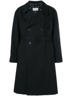 plaid back double breasted trench coat