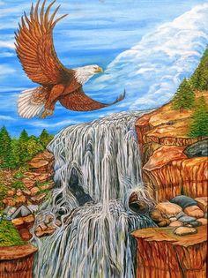Eagle Tastes Freedom, Eagle and Waterfall, Oil Painting, Art Nature Animals, Bird Art, Landscape Art, Painting Art, Art Ideas, Waterfall, Freedom, Sunshine, Eagle