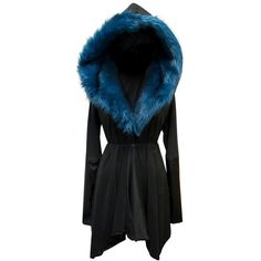 Sanctus Asylum Coat Prussian Blue Vegan Suede Leather and Faux Fur... ($263) ❤ liked on Polyvore featuring outerwear, jackets, coats, sweaters, dark olive, women's clothing, vegan jacket, suede jackets, blue jackets and blue faux leather jacket