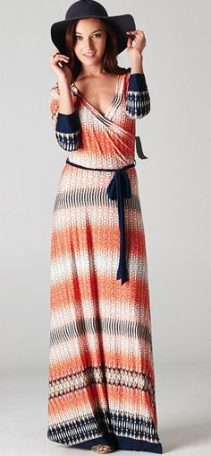 Royal, Corals and Ivory Tones in this Casual Boho Dress- minus the hat Maxi Wrap Dress, Boho Dress, Wrap Dresses, Sadies Dress, Fashion Outfits, Womens Fashion, Fall Fashion, Style Fashion, Fashion Ideas