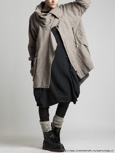 love the layers and neutral tones Thick Rustic Cotton Coat with Polar Lining by… Fashion Mode, Boho Fashion, Winter Fashion, Fashion Outfits, Womens Fashion, Fashion Design, Mode Style, Style Me, Beautiful Outfits