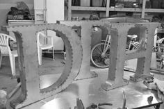 Vintage Raw Metal Letters 16 inch Marquee / wall decor / home decor / housewares / vintage