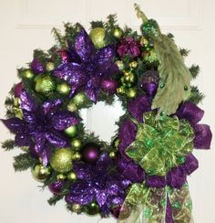 Lime Green and Purple Peacock Wreath. dardawn.etsy.com: