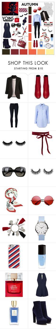 """Yours inspiration✌️"" by s-timi ❤ liked on Polyvore featuring WithChic, Yves Saint Laurent, Frame Denim, Erika Cavallini Semi-Couture, Bottega Veneta, Moschino, ZeroUV, Oscar de la Renta, Casetify and Lancôme"