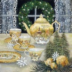 """""""Christmas Joys"""" Susan Rios Keepsake Art 8x8 The sparkling lights on the window wreath let you know that early evening tea is at hand. What a sweet holiday teapot and tea cups! Susan Rios has been a professional artist for over 30 years. You will find her romantic illustrations in many of Emilie Barnes Tea Booksand her tranquil paintings in the homes of art collectors around the world. Susan's focus is on peace, hope and beauty... Now you can add a bit of these qualities to every corner of…"""