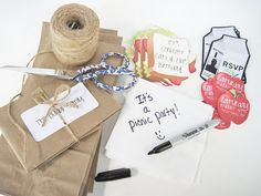 I like the brown paper look for invite... Maybe pink ribbon and ink? Templates here too