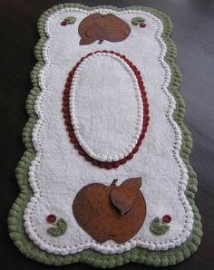 """Rusty Tin Apple Primitive"" ~ Large Runner ~ Penny Rug ~ Candle Mat ~ Wool Felt"